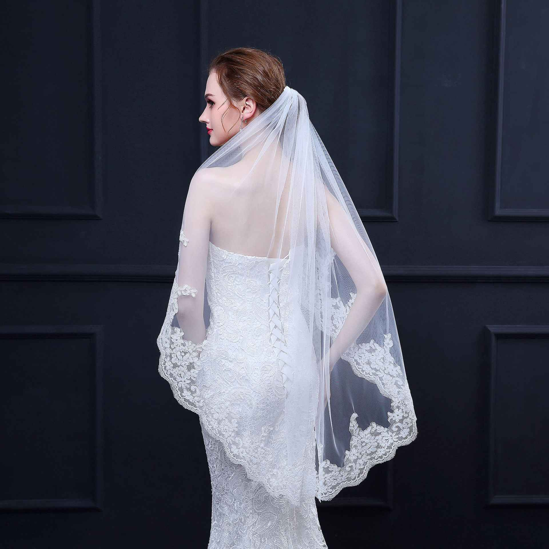 Long bridal veil Soft tulle beaded wedding veil. Embroidered  cathedral wedding veil