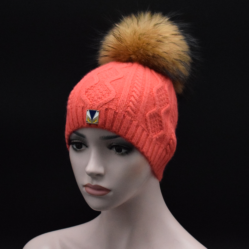 2017 New brand Skull High quality Women Wool Hat big Raccoon fur Pompoms Knit hat Fashion lady winter Beanie cap Ms Fur gorros