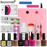 Nail Art Set Manicure Tools 36W UV Lamp 6 Color UV Gel Varnishes Nail Base Top Coat Polish with Remover Practice Finger Tips Kit