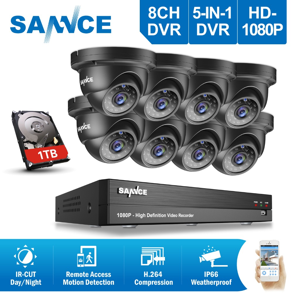 SANNCE 8CH HD 1080P CCTV System 8pcs 3000TVL 2.0MP IR Outdoor CCTV Security Cameras 1080P Surveillance DVR Kit 1TB HDD цена