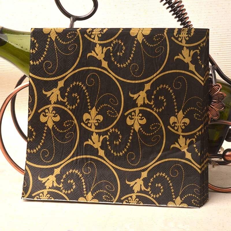 Black And Gold Beverage Napkins: New Vintage Napkins Paper Tissue Black Printed Gold Flower