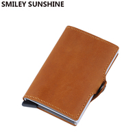 Anti Rfid Blocking Slim Mini Wallet Genuine Leather Short Men Wallet Credit Card Wallet Male Purse Money Bag Small Walet Vallet