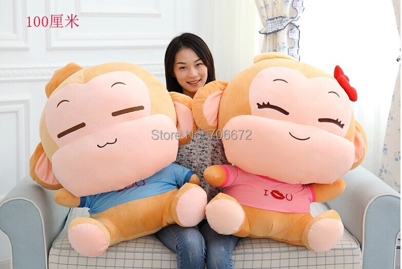largest size 90cm a pair monkeys yoyo and cici plush toy hugging pillow doll Christmas gift d7989