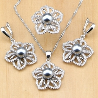 Cute 925 Silver Jewelry Freshwater Pearls With Beads Jewelry Set For Women Pendant Drop Earrings Rings Necklace Set
