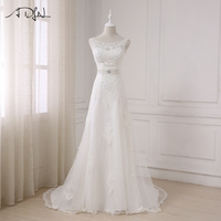 ADLN 2017 Fashionable Elegant Long A Line Wedding Dress Boat Neck Low Back Beading Appliques Bride dresses Robe De Mariage