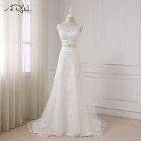 ADLN 2017 Fashionable Elegant Long A Line Wedding Dress Boat Neck Low Back Beading Appliques Bride