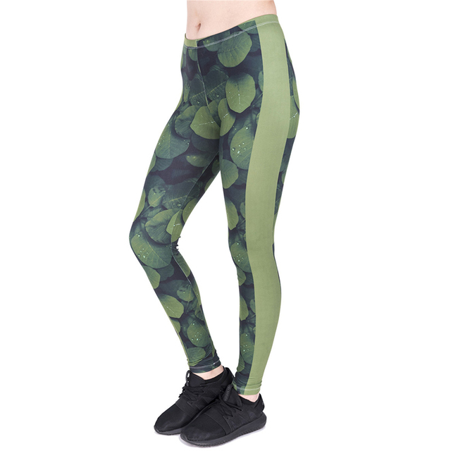 b785cddcb4a Women Funny Basic Casual Strecthed Green Leaves Leggings High Waist Skinny Leaf  Green Pants Pantalones pitillo