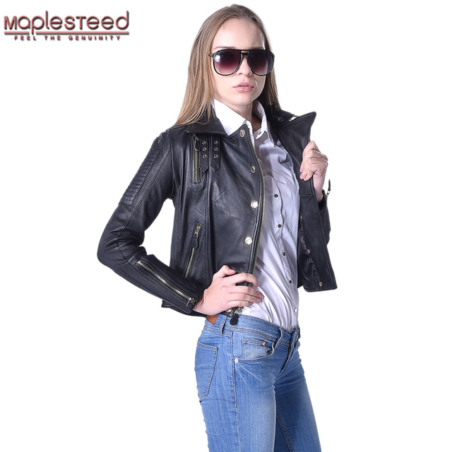 4c87bd7de57 MAPLESTEED Brand Genuine Leather Jacket Women 100% Sheepskin Black Slim Fit  Fashion Biker Jackets Female Leather Coat Autumn 016