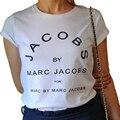 Marca de Moda de Nova Mulheres JACOBS T Camisas Casual Algodão de Manga Curta Tops Tees Camisetas Letras impressão Tshirt 8 Cores