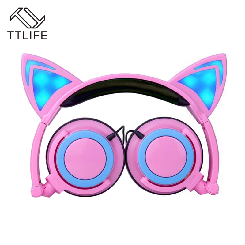 TTLIFE Foldable Flashing Glowing cat ear Headphones Gaming Headset Earphone with LED light For PC Laptop Computer Mobile Phone teamyo glowing cat ear headphones gaming headset auriculares music earphone with led light for iphone xiaomi mobile phone pc mp3