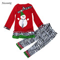 Niosung New Kids Child Girls Christmas Party Snowman Bowknot Long Sleeve Tops+Long Pant