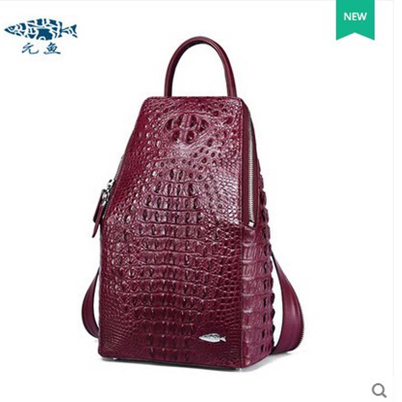 yuanyu crocodile leather double shoulder bag real Thailand imported alligator leather women backpack large capacity  women bag yuanyu 2018 new hot free shipping real python skin snake skin color women handbag elegant color serpentine fashion leather bag