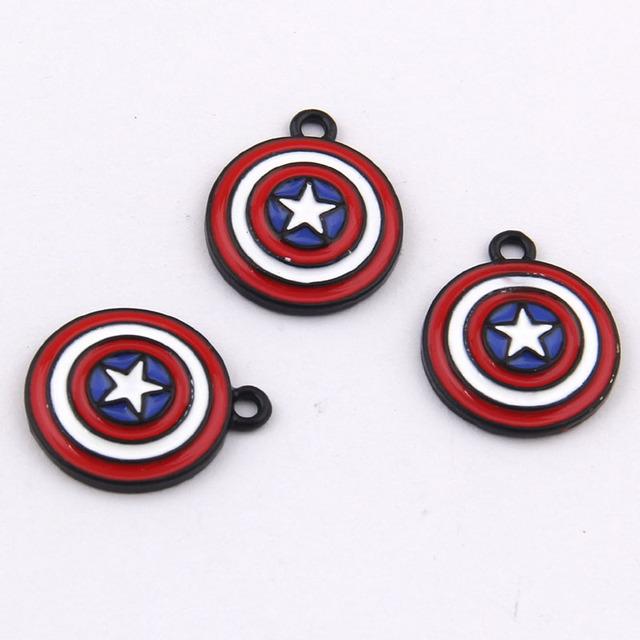 Yage 21*17mm 100 pcs Capitão América Escudo do metal encantos para pulseira
