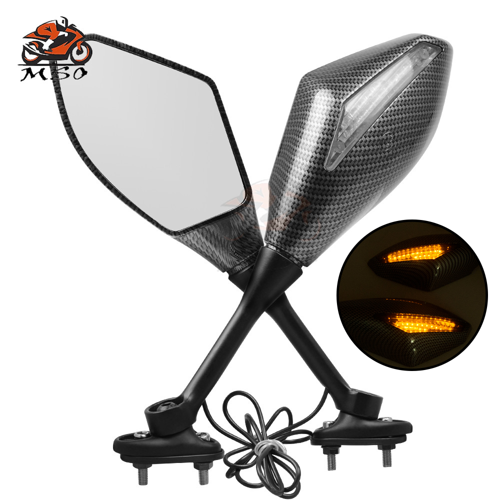 New Moto LED Turn Signal Indicators Motorcycle Rearview Mirrors For Honda CBR 250 600 900 1000 RR SUZUKI GSX 650F 750 GSXR 600