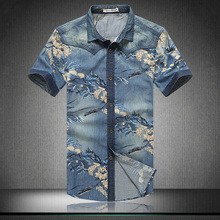 2016 summer fashion men's short-sleeved jeans shirt printing High-quality brand men's casual denim shirt Men's large size shirt
