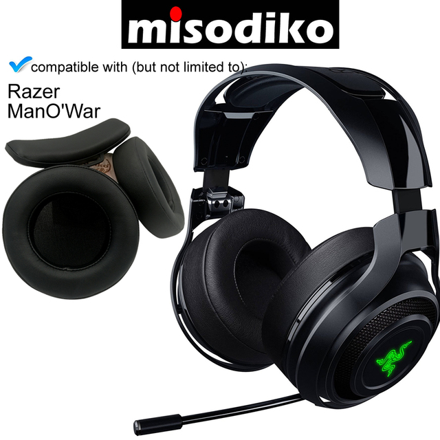 misodiko Replacement Ear Pads Cushions and Headband   for Razer ManOWar 7.1 Wireless / Wired Gaming Headset, Repair Earpads