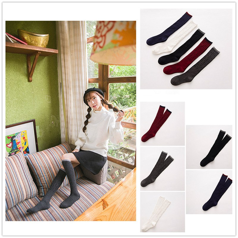 Women Cashmere Wool High Solid Thick Winter Warm Soft Comfort Boot Socks