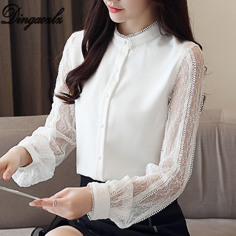 Dingaozlz Blusa feminina 2018 Novas Mulheres Da Moda camisa Patchwork de Renda Chiffon camisa Lanterna manga blusa OL Tops de renda Branca