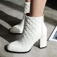 2017 New Fashion Brand Winter Shoes Black Show Thick Heel Women Ankle Boots Square Toe Lady