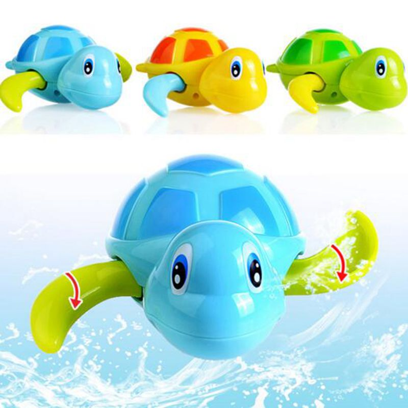 Children Bath Toy Wound-up Chain Small Animal Toy Swim Turtle Classic Toys