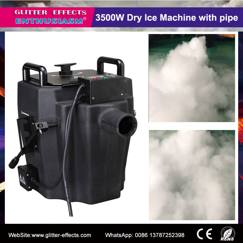 Remote control professional stage effects 3500w dry ice fog machine with smoke nozzle and diversion tube