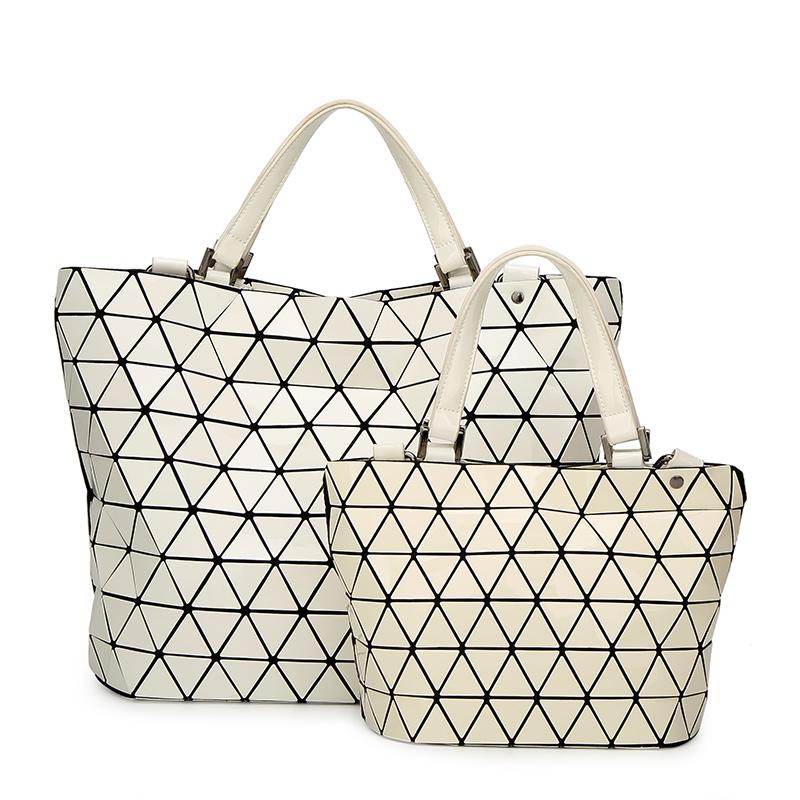 baobao bolsas bolso del cubo de las mujeres geometra lentejuelas espejo saser llano plegable bolsas