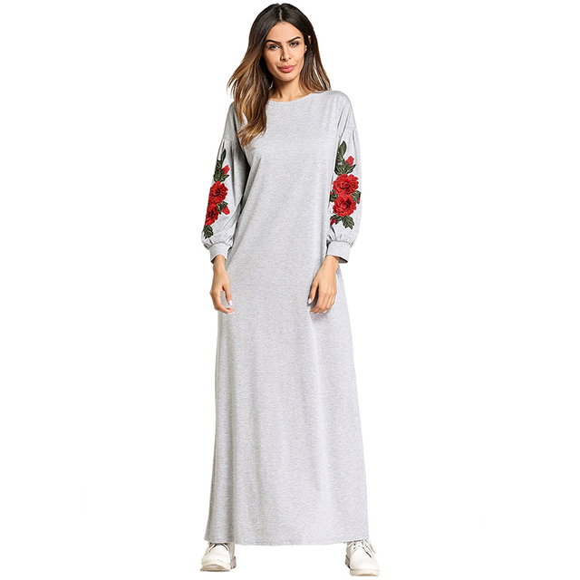 b63d1e08c0ee5 US $22.88 40% OFF|Muslim Abaya Embroidery Maxi Dress Cotton Kimono Flower  Long Robe Gowns Loose Style Jubah Ramadan Middle East Islamic Clothing-in  ...