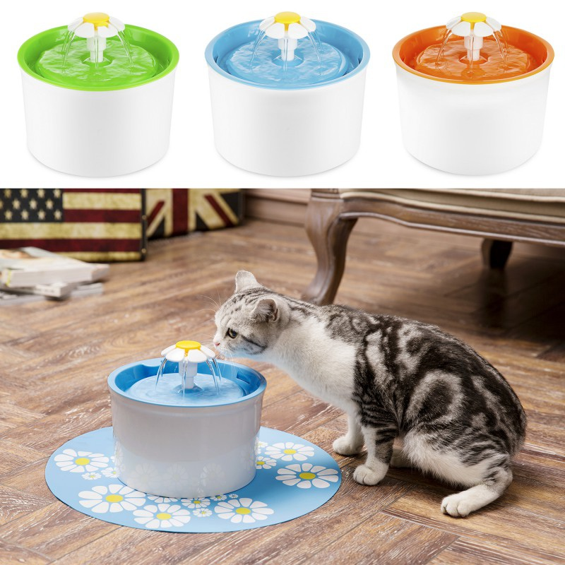 Automatic Pet Feeder Blue Cat Electric For Cats Pet Bowl Drinking Water Dispenser Drink Dish Filter EU/US Plug