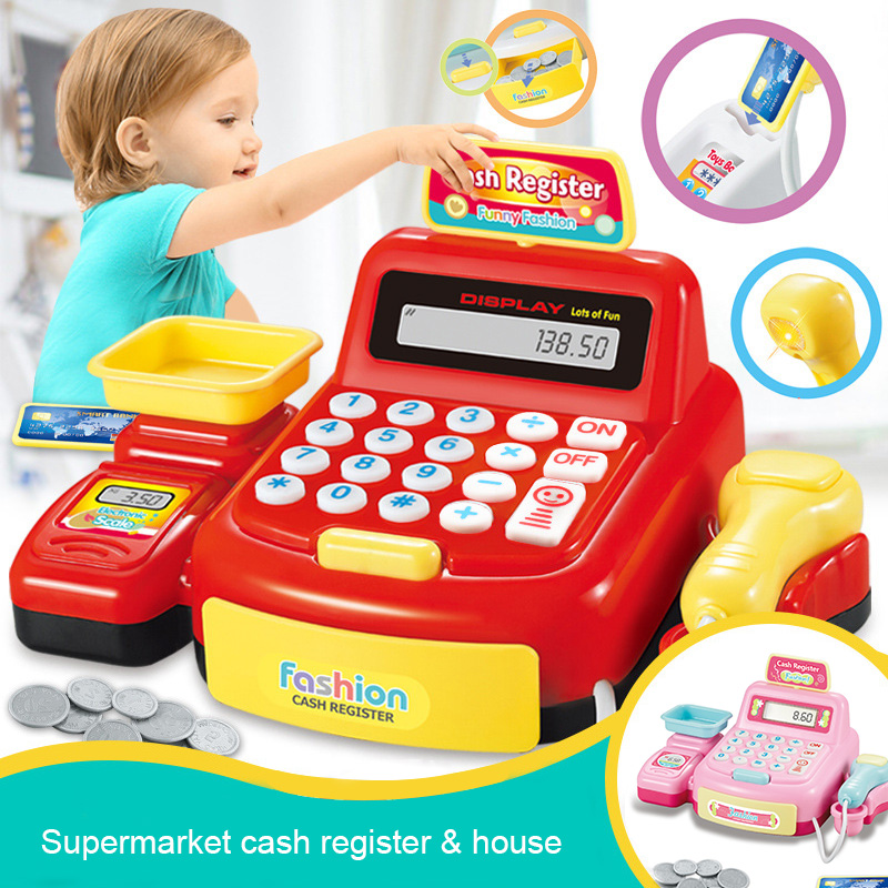 Kids Puzzle Cashier Toys With Lights Simulated Miniature POSS Machine Calculation Play Games Money Girls Toys For Children
