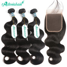 Peruvian Body Wave Bundles With Closure Pre-Plucked 100% Human Hair 3 Bundles With Lace Closure Asteria Natural Black Remy Hair(China)