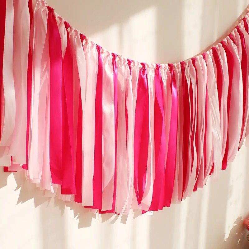 Romantic Baby Shower Party Garland Hot Pink Banner Ribbon Bunting Wedding Birthday Decorations Room Flag Banquet Wall Background In Banners