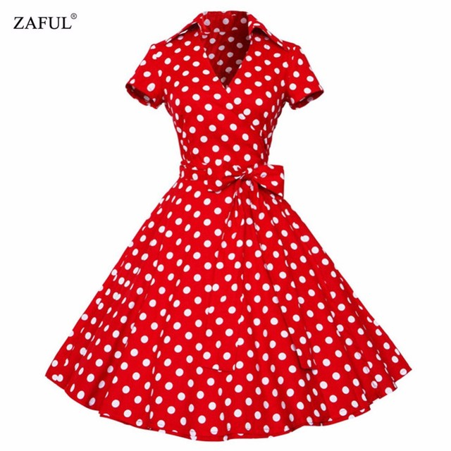 ZAFUL Плюс Размер S-4XL Женщины Ретро Dress 50 s 60 s Vintage рокабилли Свинг feminino vestidos V шеи короткие рукава Dot печати dress