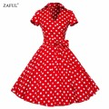 Zaful plus size s-4xl mulheres retro dress 50 s 60 s do vintage rockabilly balanço feminino vestidos v neck manga curta imprimir dot dress
