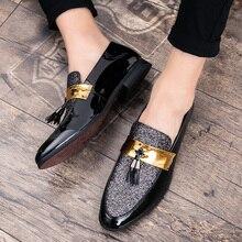 Мужские кожаные туфли на плоской подошве ROMMEDAL, вечерние туфли оксфорды с блестками для свадьбы, 2019