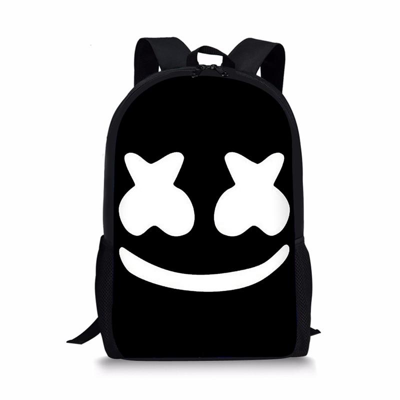 School Bag for Kids Boy Girls Backpack 3D Marshmello Printing Backpack Female Schoolbag School Supplies Satchel Casual Book Bag цена 2017