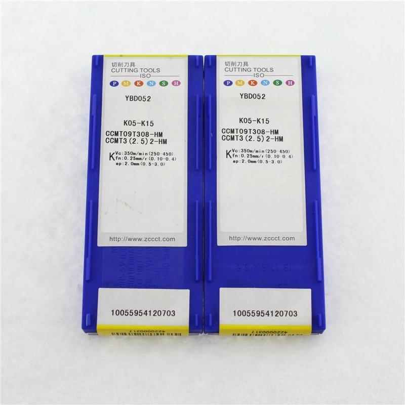 10pcs carbide inserts CNC tools CCMT09T308 HM YBD052 Free shipping