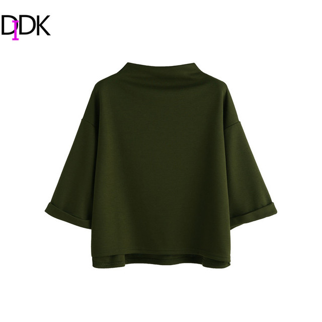 DIDK Women Tops T shirt Women Designer Mock Neck Three Quarter Length Sleeve Drop Shoulder High Low Cuffed T-shirt