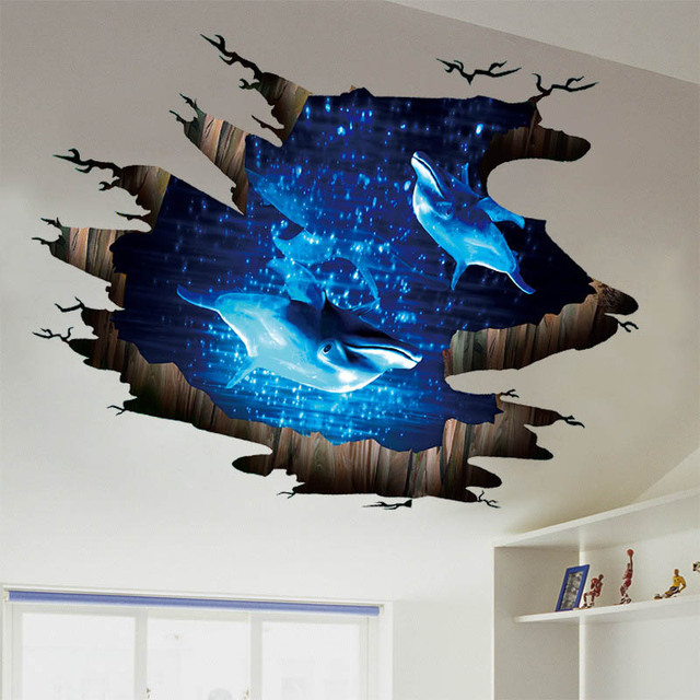 Wonderful 3D Dolphin Deep Sea Wall Sticker For Floor Living Room Bedroom Home Decor  Decals Stranger Things