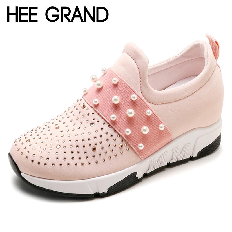 HEE GRAND Pearl Casual Creepers New Autumn Platform Shoes Woman Slip On Comfortable Women Flats Shoes Size 35-40 XWD6921 hee grand bowtie brogue shoes woman 2017 new oxfords velvet slip on high heels casual platform women shoes size 35 40 xwd5186