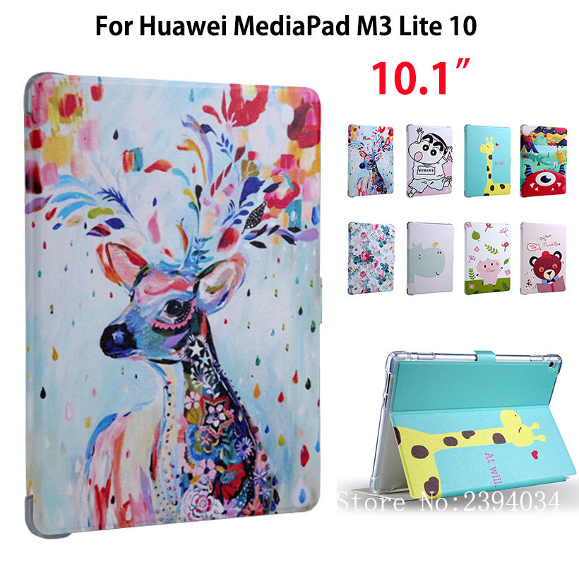 Children's cartoon Case For Huawei MediaPad M3 Lite 10 10.1 BAH-L09 BAH-W09 BAH-AL00 Smart Cover Funda Tablet PU Leather Shell luxury pu leather cover business with card holder case for huawei mediapad m3 lite 10 10 0 bah w09 bah al00 10 1 inch tablet
