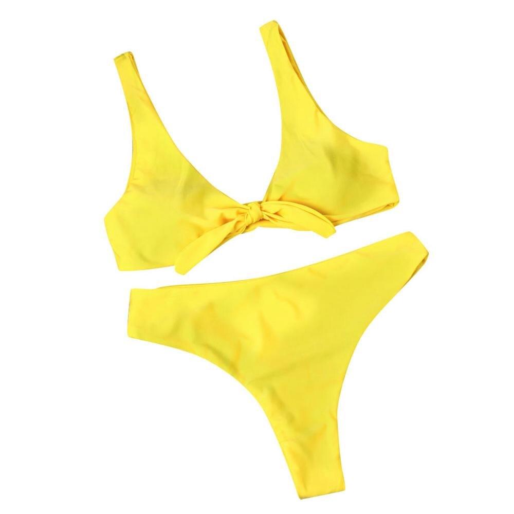 Женская одежда для плавания, розовый однотонный купальный костюм для женщин, сексуальный элегантный танкини, купальные костюмы для женщин с бантом из двух частей, женский купальник s - Цвет: Цвет: желтый