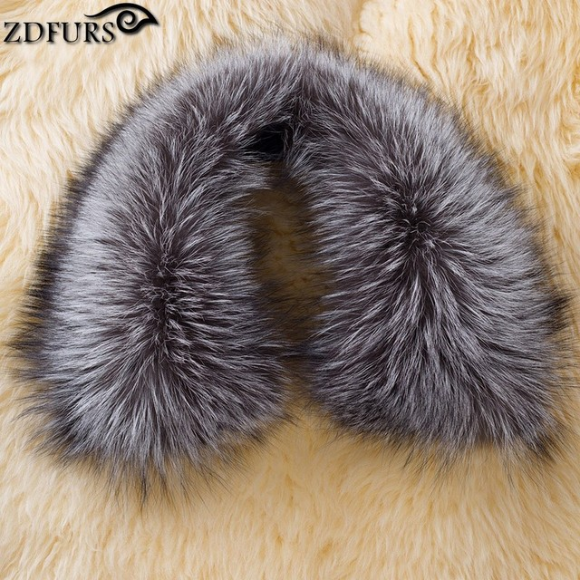 ZDFURS * roupas acessórios genuínos raposa lenços 100% Real sliver fox fur collar praça ZDC-163013