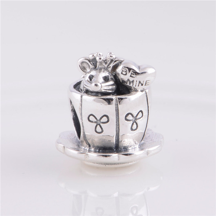 Vintage Enchanted Mouse In Cup Charm Beads 925 Sterling Silver Jewelry Fairy Animal Beads Fits Pandora Bracelet Diy Making