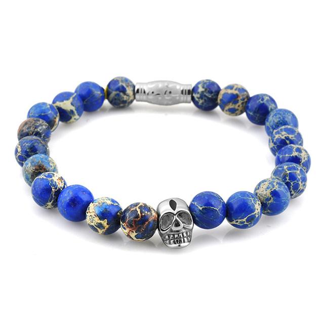 Azul Rey Del Cráneo de Piedra Natural Pulsera de Piedra Para Las Mujeres de Acero Inoxidable Pulseras y Brazaletes Pulseira Feminina Pluseras