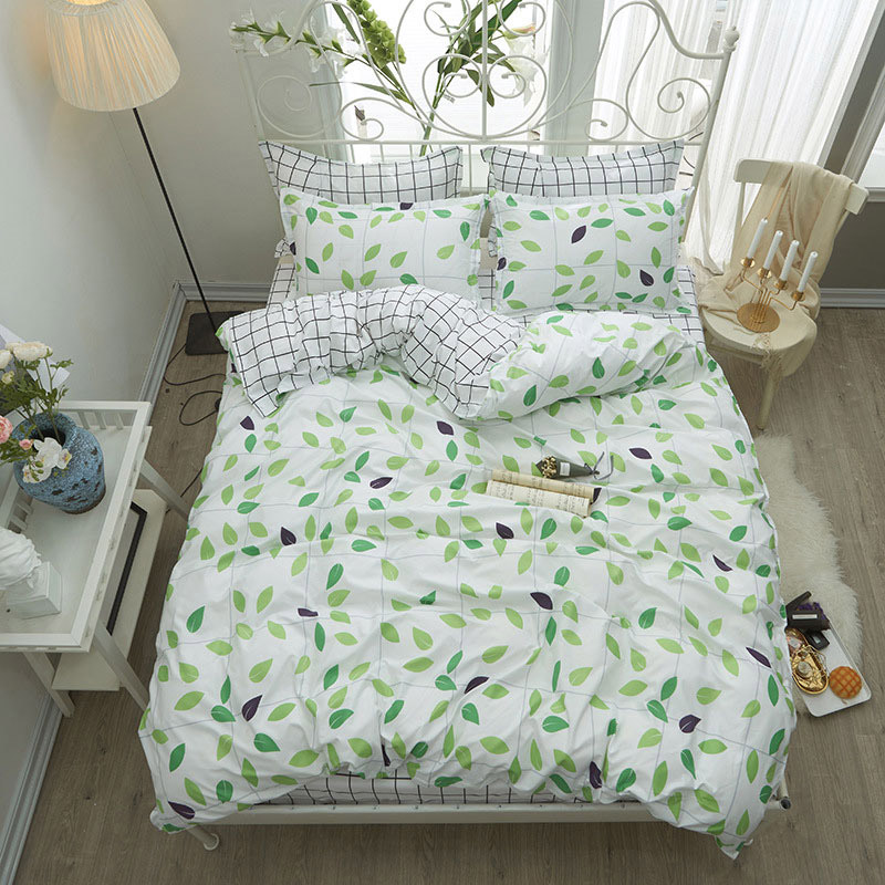 Green Leaves 4pcs Girl Boy Kid Bed Cover Set Duvet Cover Adult Child Bed Sheets And Pillowcases Comforter Bedding Set 2TJ-61019
