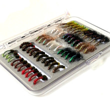 KKWEZVA 50pcs Nymph Fishing Lure fly Insects different Style Salmon Flies Trout Single Fly Lures Tackle