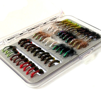 KKWEZVA 50pcs Nymph Fishing Lure fly Insects different Style Salmon Flies Trout Single Fly Fishing Lures Fishing Tackle
