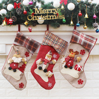 Christmas Stockings Socks Plaid Santa Claus Candy Gift Bag Santa Bag Claus Snowman Deer Stocking Socks
