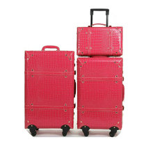 Girls Journey Baggage Crocodile Sample Classic Trolley Baggage PU Leather-based Journey Suitcase Common Wheels Baggage Units 22″ 24″