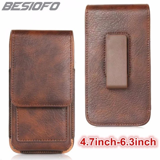360 Degree Rotation Hook Loop Pouch Leather Holster With Belt Clip Cover Phone Case For Xiaomi